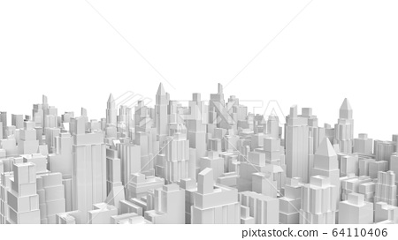 The white 3d rendering  city building for property business content. 64110406
