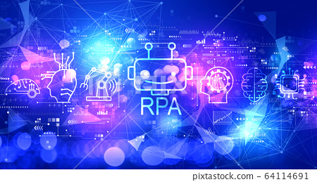 Robotic process automation concept with technology light background 64114691
