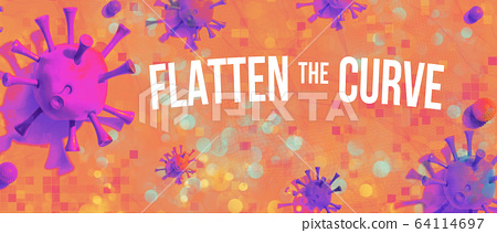 Flatten the Curve theme with viral objects 64114697