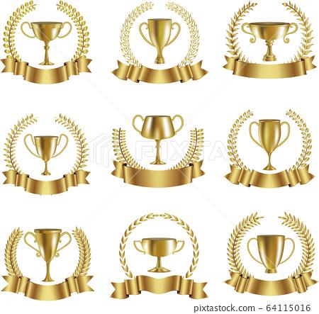 向量集的金色獎杯和月桂樹和絲帶 64115016
