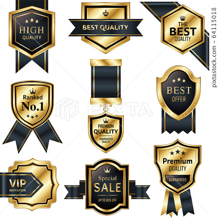 向量集的金色和黑色盾牌徽章和每個功能區 64115018
