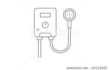 Vector icon water heater. Spare parts and household appliances for the kitchen, gas supply, water supply modern home. 64116995
