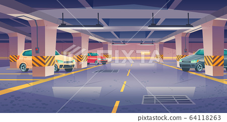 Underground car parking, garage with vacant places 64118263