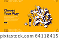 Choose your way isometric landing page, web banner 64118415