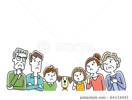 插圖材料:表達不安的家庭 64118491