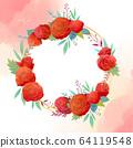 원형 꽃 프레임 64119548