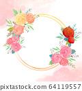 원형 꽃 프레임 64119557