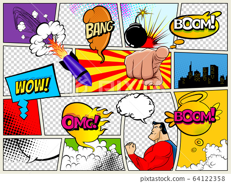 Grunge Retro Comic Speech Bubbles. Background with radial halftone effects and rays in pop-art style. Abstract Talking Clouds and Sounds 64122358