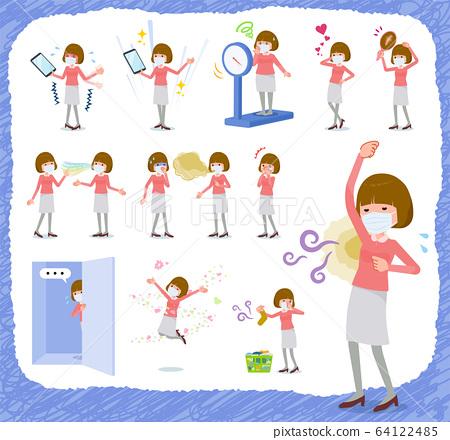 flat type mask pink blouse women_complex 64122485
