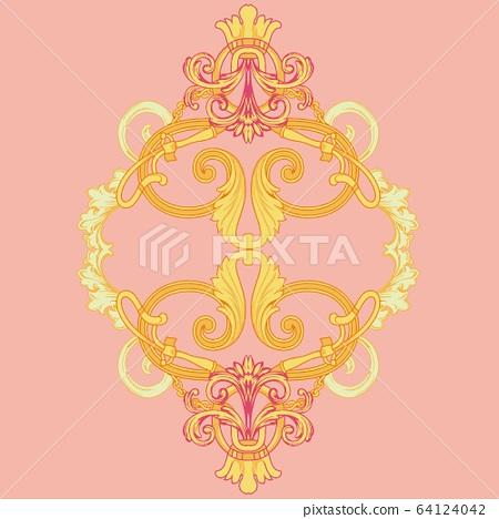 美麗優雅的蕾絲巴洛克佩茲利矢量元素 64124042