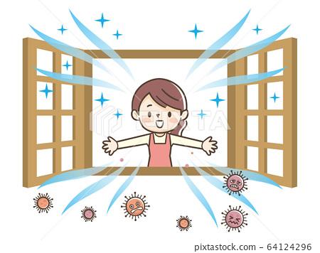 通風,窗戶,家庭主婦 64124296