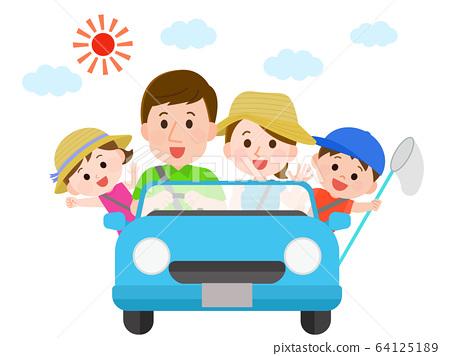 Summer vacation family drive travel illustration 64125189