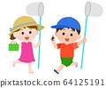 여름 방학 곤충 잡기 남녀 어린이 일러스트 64125191