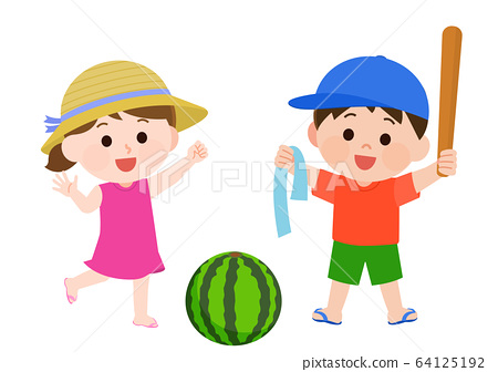 暑假西瓜分裂男女兒童插畫 64125192