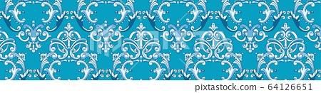 藍色的抽象蕾絲歐式巴洛克矢量元素 64126651
