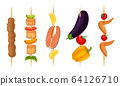 Meat Slabs and Sliced Vegetables on Skewers or Wooden Sticks Cooked on Grill Vector Set 64126710