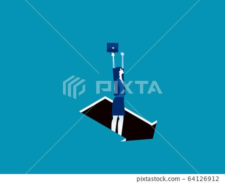 Pitfall arrow sign. Business trap concept 64126912