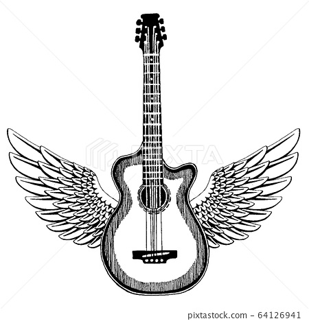Acoustic vector guitar with wings. Emblem for musical school, festival. Heavy metal, rock, jazz. 64126941