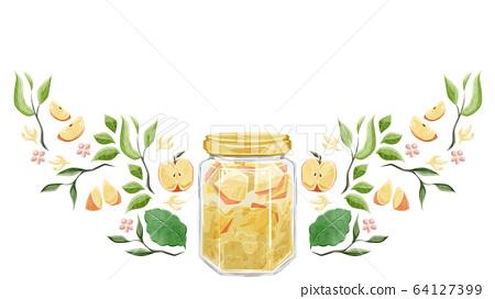 식물과 사과 잼 수채화 프레임 디자인 64127399