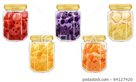 5 kinds of fruit jam watercolor image 64127420