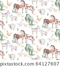 Watercolor seamless pattern with cute farm animals with goat, horse, goose and cow. chicken, sheep and pig domestic animal illustration. 64127607