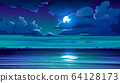 Night sea landscape with coastline and moon in sky 64128173