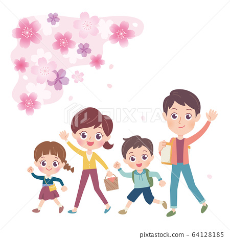 Illustration of a family of four enjoying watching 64128185