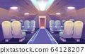 Business class in plane private jet empty interior 64128207
