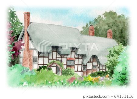 水彩畫的英國茅草屋 64131116