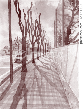 Winter tree-lined road painted by watercolor 64131507