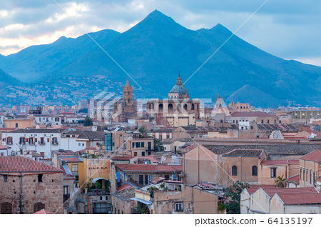 Palermo at sunset. 64135197