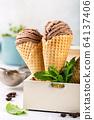 Delicious coffee ice cream for dessert 64137406