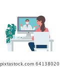 Online practice doctor patient coronavirus infection prevention illustration set 64138020