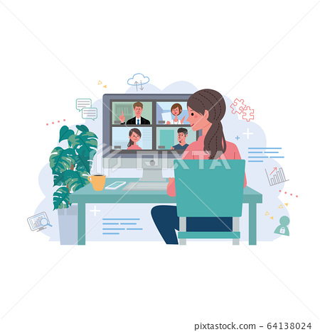 Remote work online meeting 64138024
