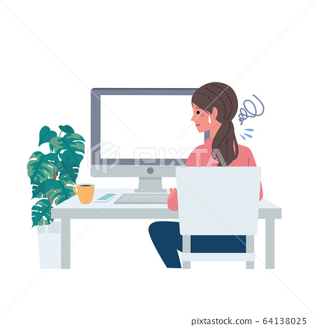 A woman heading for a computer Illustration Telework Remote work 64138025