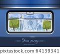 View from the train window. Vector illustration 64139341