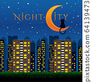 Night City design with cat and moon 64139473