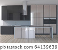 3d rendering of new glossy kitchen interior design 64139639