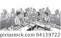 Illustration of group of people friends students conversation studying in pub bar restaurant izakaya 64139722