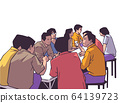 Illustration of group of people friends students conversation studying in pub bar restaurant izakaya 64139723