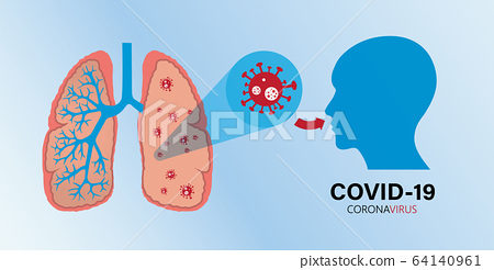 Human lungs in Coronavirus disease COVID-19 infection medical. pandemic risk background vector illustration.  64140961