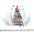 Girl sitting on pile of books with open laptop on her knees. Online library, study, e learning concept design. Vector illustration in trendy flat style isolated on white background 64143573