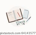 Write concept vector illustration. Notepad, glasses, notebook, paper notes with pen and pencil for making writing. Graphic elements in trendy flat style isolated on white background 64143577