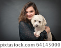 Teen Girl With Maltese Dog In Her Hands 64145000