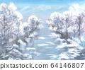 Quiet gentle romantic wintertime scene. Blue 64146807