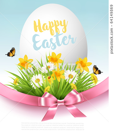 Easter Sale Background. Holiday egg in green grass 64149869