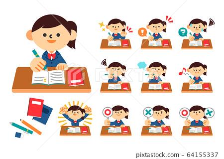 學生,初中,高中,學習,制服,女 64155337