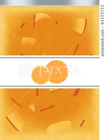 Orange jam bottle with illustration label 64155733