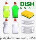 Plates Dishwashing Detergent And Sponge Set Vector 64157050