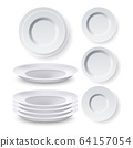 Plates Dinner Equipment Collection Set Vector 64157054
